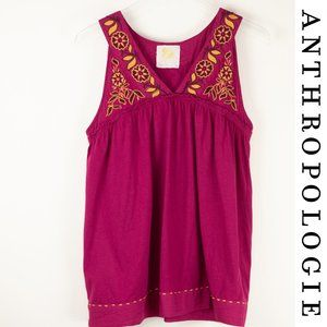 Anthropologie C. Keer Last Light Floral Pink Tank